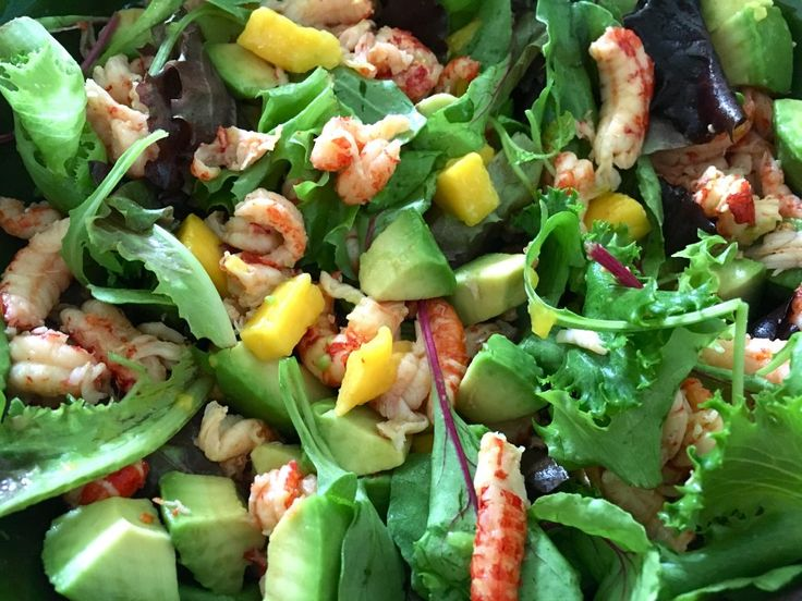 Crayfish, mango and avocado salad with grapefruit dressing - The perfect recipe for these hot summer days, this salad is light but filling, with a sweet and zesty dressing. Crayfish are packed with protein but low in calories, and their meaty texture helps fill you up. This sweet and citrussy grapefruit dressing makes this salad even more moreish.