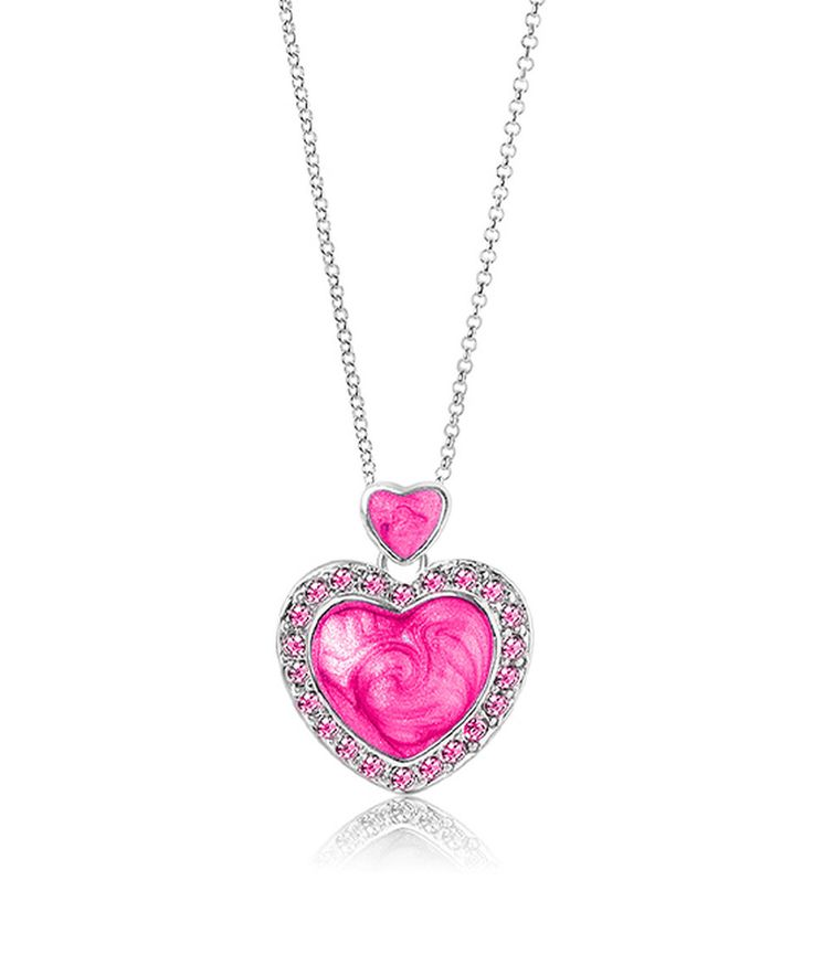 Take a look at this Pink Crystal & White Gold Two-Heart Pendant Necklace today!
