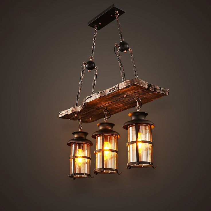 New Original Design Retro Industrial Pendant Lamp 3 Head Old Boat Wood  American Country Style Nostalgia
