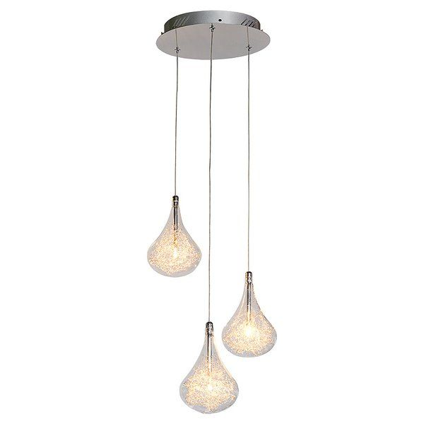 This elegant ceiling light consists of 3 hanging blown glass pear drops. Inside each drop is ball of decorative aluminium wire. This not only looks stylish, but takes the edge off the glare of the halogen bulb. Each pear drop is attached to a 1.5m length of wire which can be adjusted allowing this light to be hung on ceilings of all heights.