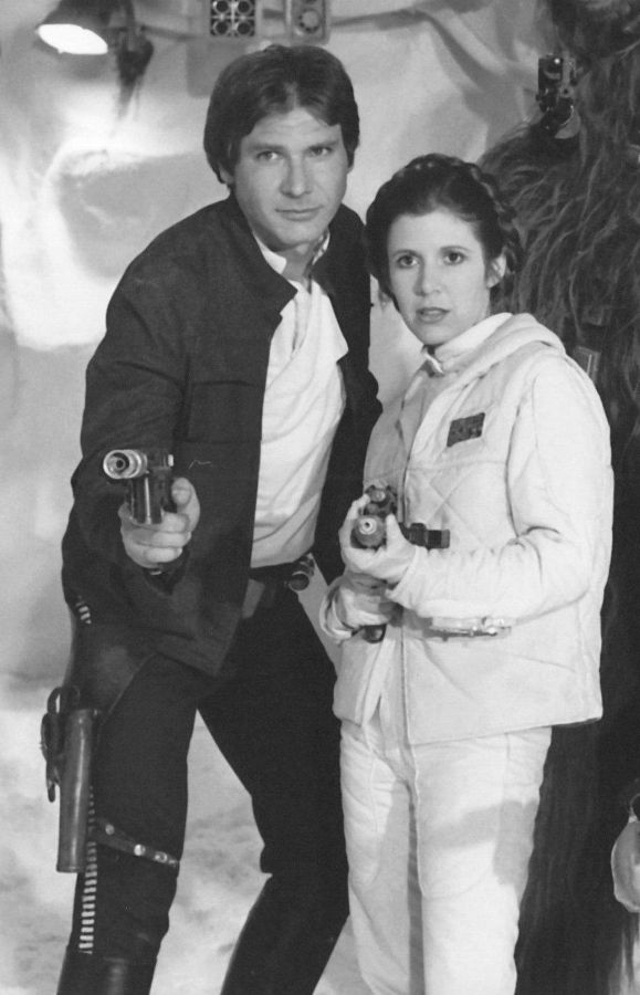 Harrison Ford as Han Solo and Carrie Fisher as Princess Leia from Star Wars: The Empire Strikes Back (1980)