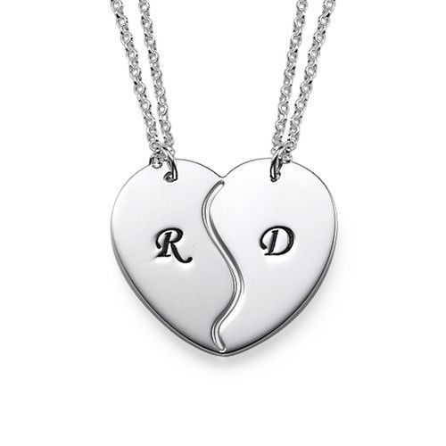 Breakable Heart Necklaces with Engraved Initials | MyNameNecklace