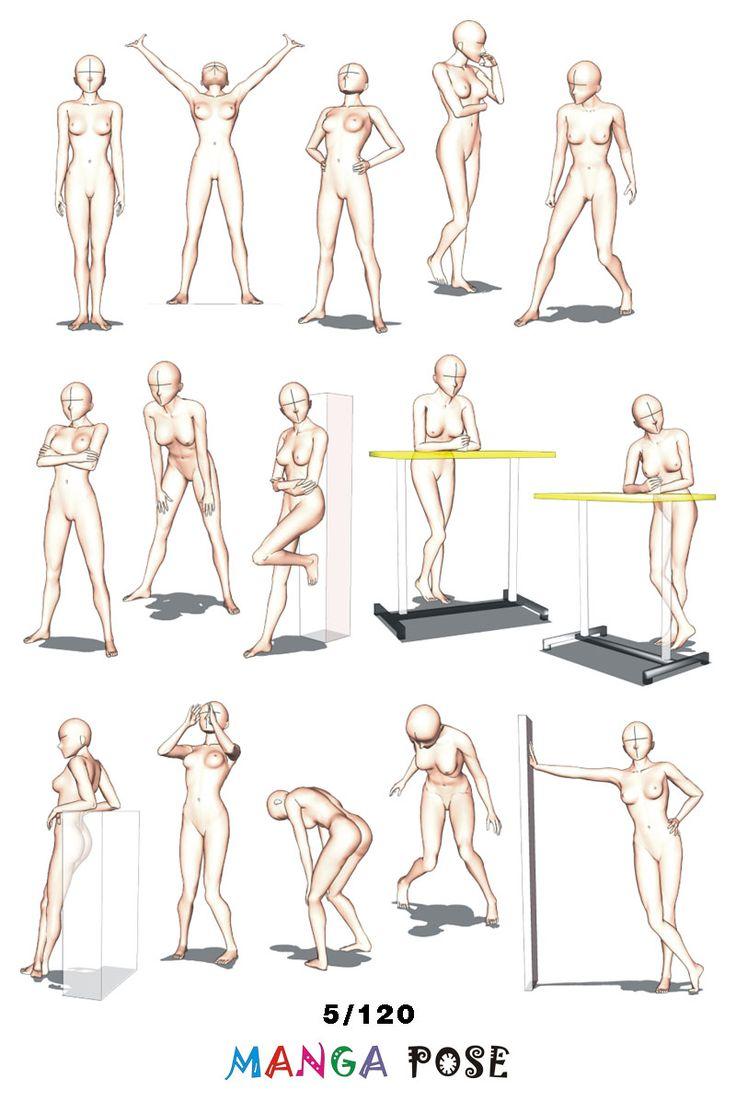 Tutorial Drawing Manga pose. Big posebook for manga anime character. : Standing poses