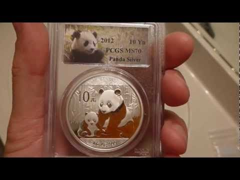 2012 Chinese Silver Panda One Ounce coin.  This one is a perfect 70 Chinese silver panda!  This Chinese Panda was graded MS70 by the PCGS coin grading service.  These coins are great for both bullion and numismatic coin people!