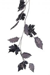 1.8m Charcoal and Antique Silver glitter leaf garland   Code; GALF180CHCOPTLF