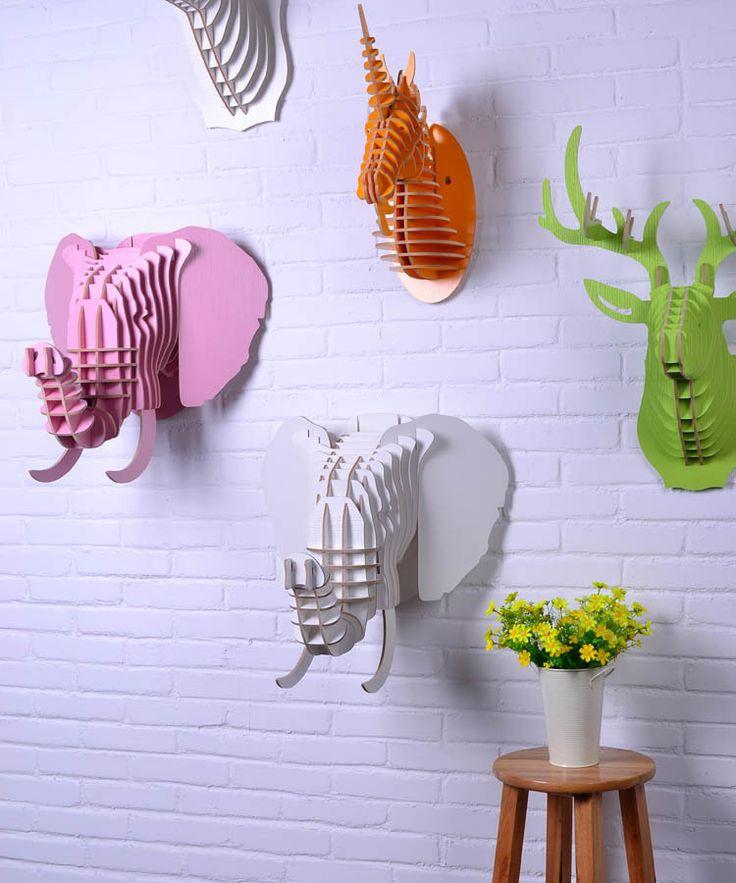 M s de 17 ideas fant sticas sobre cabeza de elefante en for Adornos de madera para pared