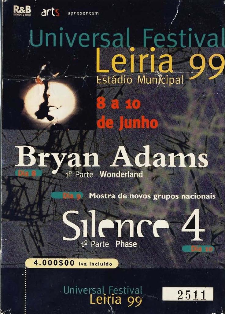 """Concerto: """"Bryan Adams"""" com 1ª parte de WonderLand. Estádio Municipal de Leiria, Portugal. Terça-feira, 8 de Junho de 1999 ."""