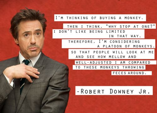 Robert Downy Jr is getting a monkey, or two. How about you?This Man, Robert Downey Junior, Robertdowneyjr, Robert Downey Jr, Iron Man, Celebrities Quotes, Funny Celebrities, Funny Man, Robert Downy Jr