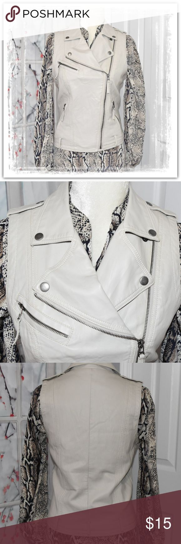 Pepe Jeans Leather Vest Cute Light tan leather vest embellished with great snaps, zippers, and pockets. This piece will coordinate nicely with so many things from jeans and sweaters to fabulous dresses. There is some aging to this leather even though the tags are attached. It's mainly along the main zipper and you'll see where I included a photo of it. This was purchased on consignment and I didn't even notice it at first. I've priced it accordingly. She is awesome and I love the color…