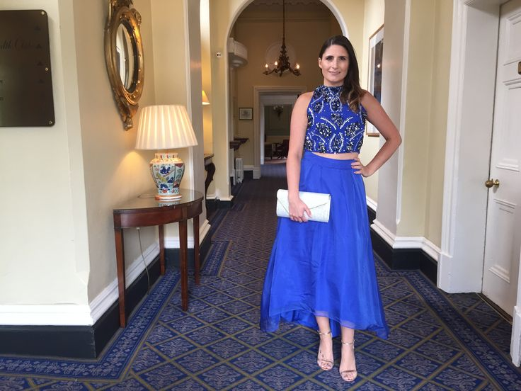 Royal Blue Two Piece with Silver Clutch Bag
