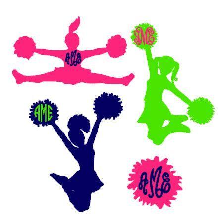 Cheerleader Monogram instant download cut file - svg, studio3, studio, ps, eps, dxf (monogram font sold separately)