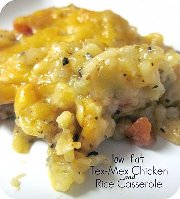Low-Fat Tex Mex Chicken and Rice Casserole #Recipe #Dinner