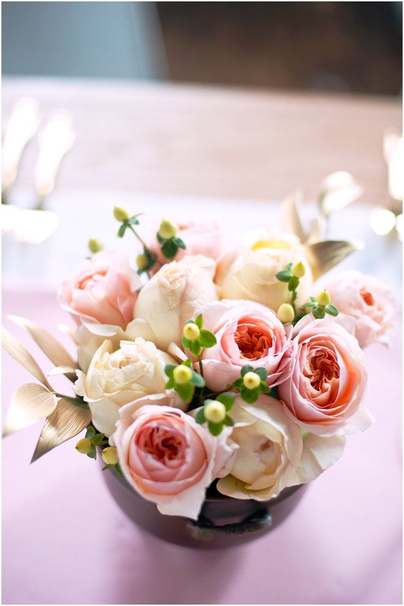Romantic summer wedding reception table centerpieces Juliet Peony