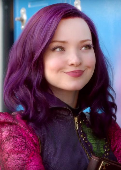 Dove Cameron Wavy Purple Angled Bob, Bob, Uneven Color Hairstyle | Steal Her Style