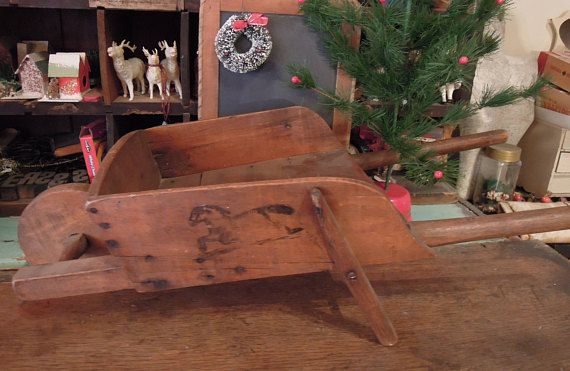 Antique Child's Wheelbarrow / Vintage Child's Wood