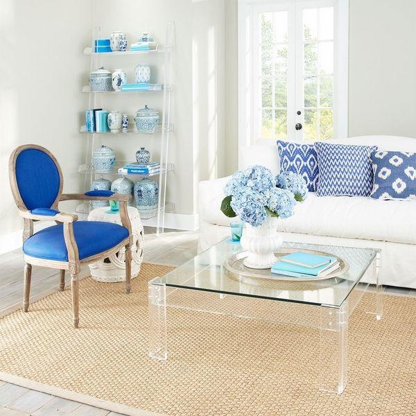 lucite coffee table ideas living room decoration ideas blue white interior  white sofa decorative pillows