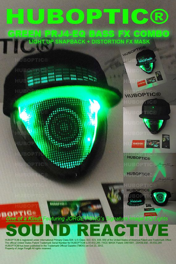 This is an ONE OF A KIND Futuristic HUBOPTIC DISTORTION FX Light Up CAP    Mask Combo Design - PRJ4 Snapabck + BASS FX Mask that will turn heads  anywhere you ... b1d9e1ae2216
