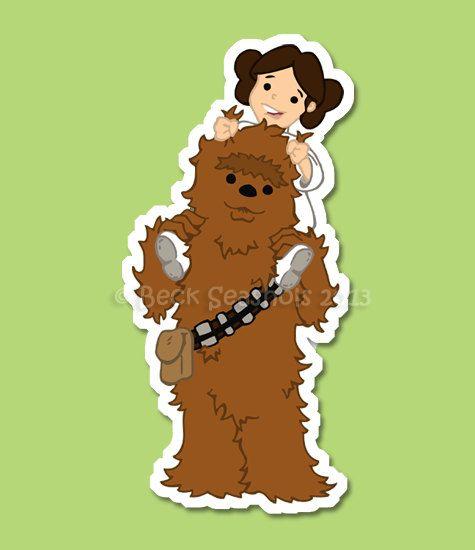 Chewbacca And Leia Cartoon Star Wars Sticker By