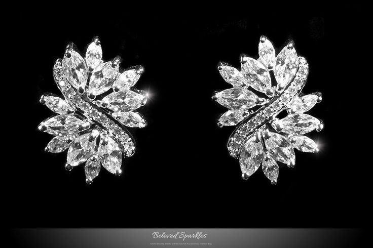 Shani Marquise Cluster Statement Stud Earrings   6 Carat   Cubic Zirconia