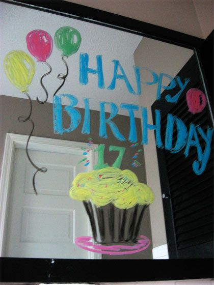 Write a birthday message on their bathroom mirror.