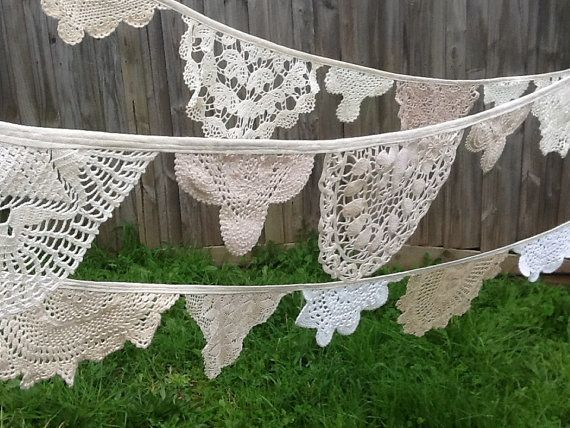 Reserved for Carolyn.  Vintage Lace Doily Bunting , Rustic Shabby Chic, Farmhouse Country Wedding Bunting.