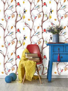 by Lord Twig  'Feathered Friends' by Lord Twig is a fabulous design that creates a stunning effect of a winter forest, brightened by the colourful birds in it's branches.  click here if you wish to order samples  easy paste the wall application pattern repeat 20 in roll width 20.5 in, length 33 ft  coverage 56 sq ft