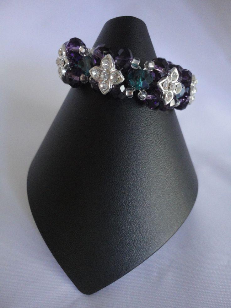 Blue and purple crystal flower bracelet