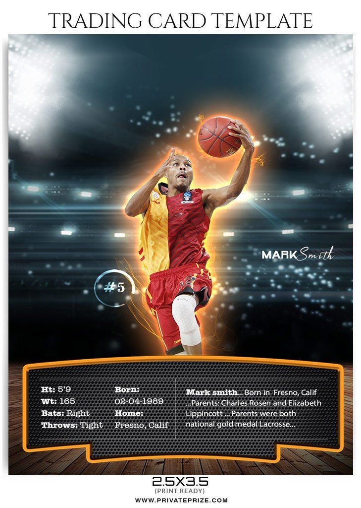 Mark Smith Trading Card Basketball Sports Photoshop Template Trading Card Template Player Card Card Template