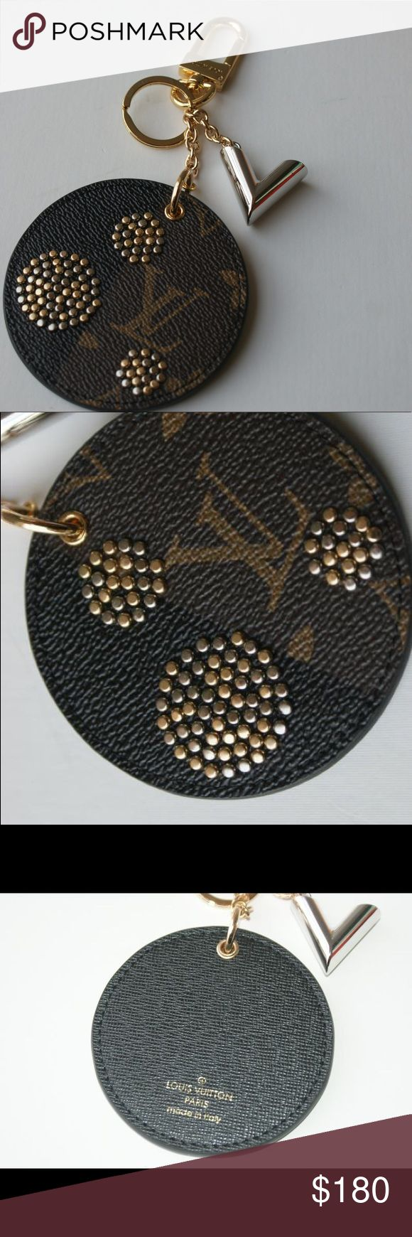 LV bag charm and key holder.LK22 Inspired by the polka dot theme of Louis Vuitton's Spring/Summer 2017 fashion show, this eye-catching key holder and bag charm combines metallic dots and a graphic V accessory with a reversed version of Monogram canvas. Louis Vuitton Other