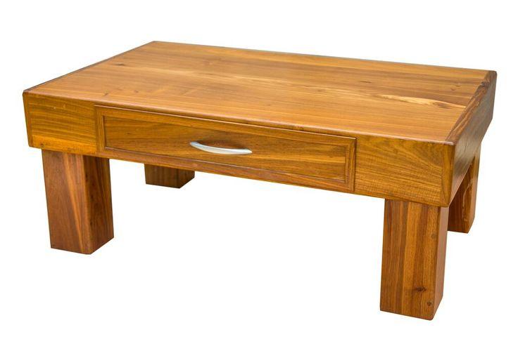 Kiaat wood coffee table with storage space