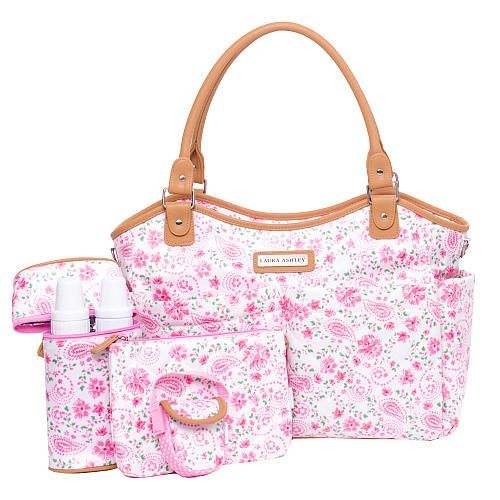 "I registered for this diaper bag. Laura Ashley 6 Piece Tote Diaper Bag - Pink Floral - Laura Ashley - Babies ""R"" Us"