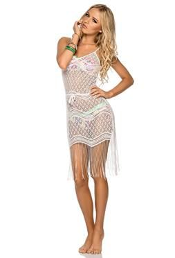 Phax Sereia Dress in White with Fringe