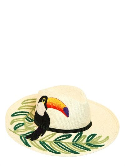 Etro embroidered woven straw hat!