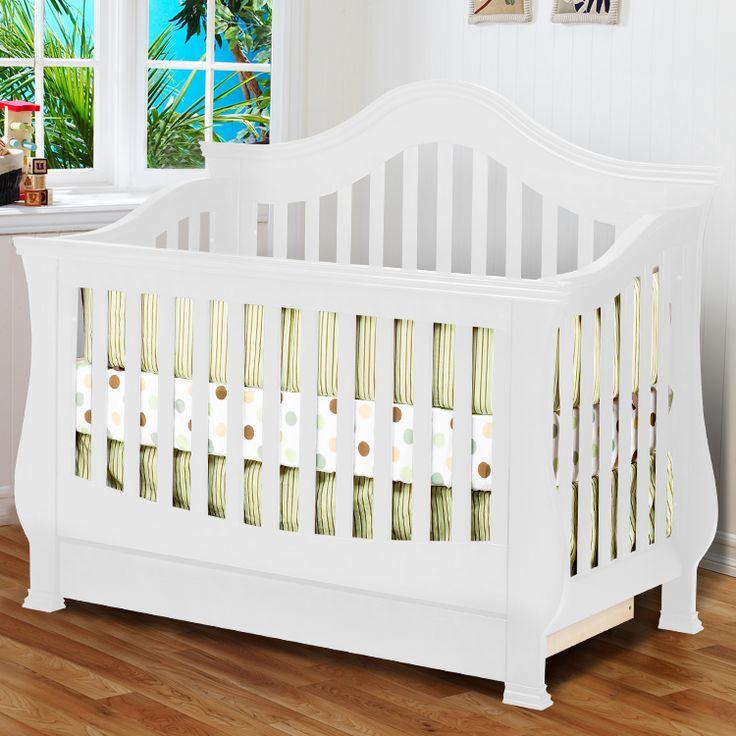 Million Dollar Baby Ashbury Sleigh Convertible Crib With Toddler Rail In  White