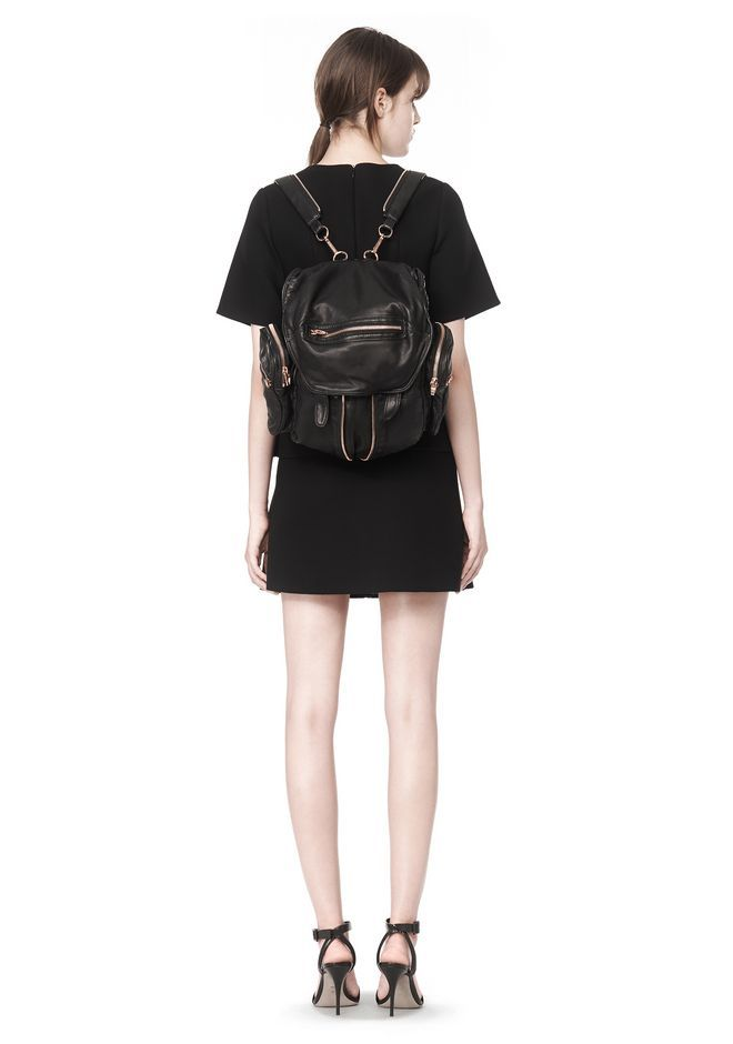MINI MARTI BACKPACK IN WASHED BLACK WITH ROSE GOLD   Backpacks   Alexander Wang Official Site