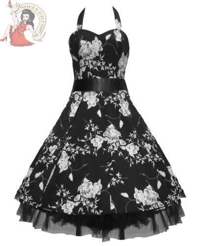 Sale Hearts Roses H R 50 s Floral Rockabilly Dress Black White 8 10 | eBay