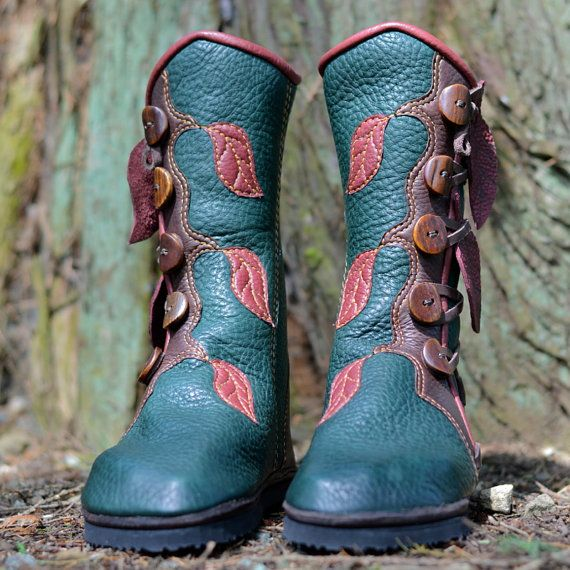 Jade Forest Moccasin Boots with Leaves - Elven Pixie Boots - Women's Leather Boots - Elf - Boho - Custom Fitted - Custom Designed