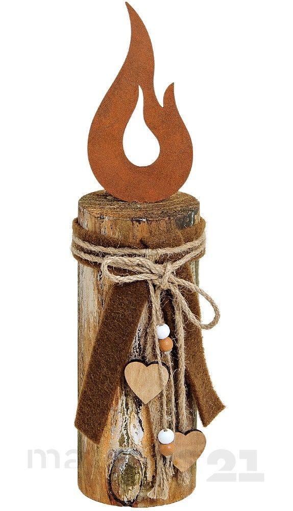 Holzpfahl mit Kerzenflamme aus Metall & Schleife Holz-Deko 8x8x35 cm kaufen | MATCHES21 ®