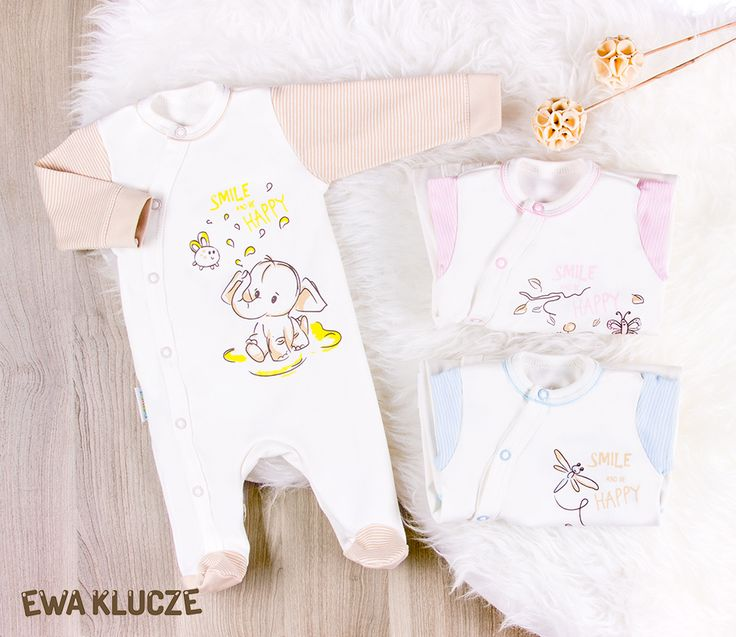 EWA KLUCZE, kolekcja BE HAPPY dla wcześniaków, pajac bawełniany  EWA KLUCZE, BE HAPPY collection, cotton sleepsuit, baby clothes