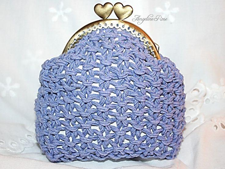 blue crochet purse, blue crochet clutch, blue coin purse, heart kiss lock, striped inside, angeline rose purse, unique handmade by AngelineRosePurse on Etsy