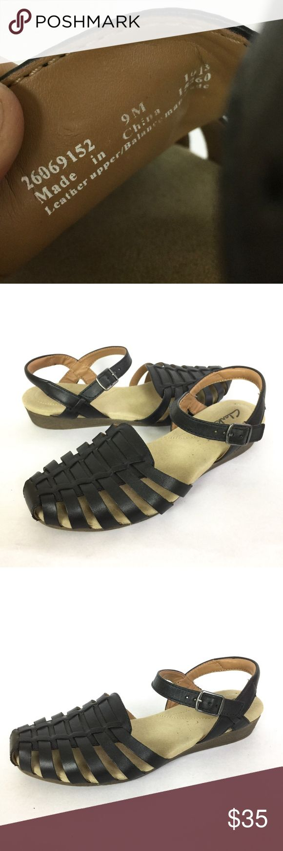 Clarks Sandal Size 9 Womens Fisher Man Sandals Clarks Sandal Size 9 Womens Fisher Man Sandals Black Leather Slingback Flats. In great condition. Does show wear on upper. View pictures for more details. Clarks Shoes Sandals