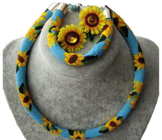 Sunflowers Beaded Rope Necklace - Beaded Crochet Rope Necklace - Seed beads jewelry - Jewelry Sets with sunflowers  Sunflowers Beaded Rope Necklace