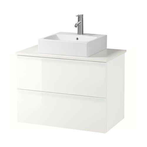 GODMORGON/ALDERN / TÖRNVIKEN Waschbeckenschr+Aufsatzwaschb 45x45, Hochglanz weiß, weiß weiß Hochglanz weiß 82x49x72 cm