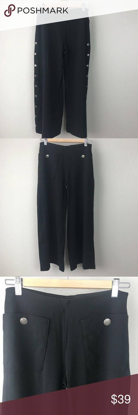 """VTG 90s Black Wide Leg Spanish Gaucho Culottes Vintage 90s Equestrian Brand thick stretchy black rayon nylon blend wide leg cropped culottes gaucho pants with awesome detailed silver buttons down legs like a mariachi. I've seen these at Zara recently, what's old is new. Great vintage condition, no holes tears or stains. Waist is 27"""", rise is 8.5"""", inseam is 24.5. Tag says P for Small Vintage Pants Wide Leg"""