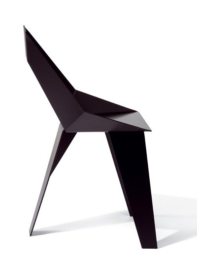 Axiome chair in black aluminium powder coated size 85 for Chaise 50 cm