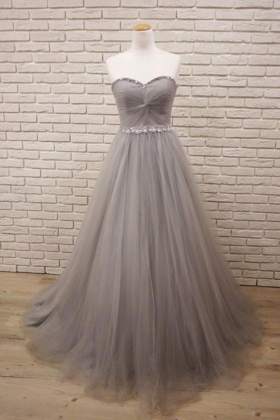 3c3de49c6f3 Gray sweetheart neck tulle long prom dress