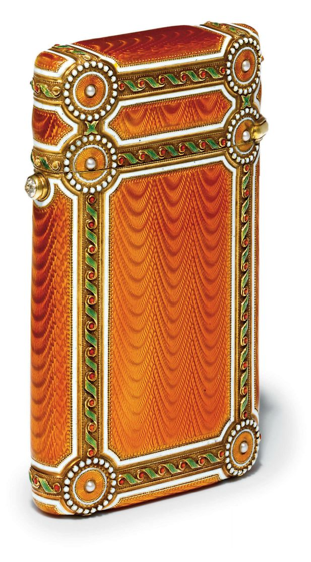 GUILLOCHÉ ENAMEL CIGARETTE-CASE MARKED FABERGÉ, WITH THE WORKMASTER'S MARK OF MICHAEL PERCHIN, ST PETERSBURG, CIRCA 1890, SCRATCHED INVENTORY NUMBER 49834