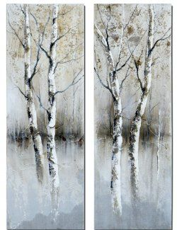 birch tree panels, wall art, essentialsinside.com (Frameless, hand painted artwork on stretched canvas)