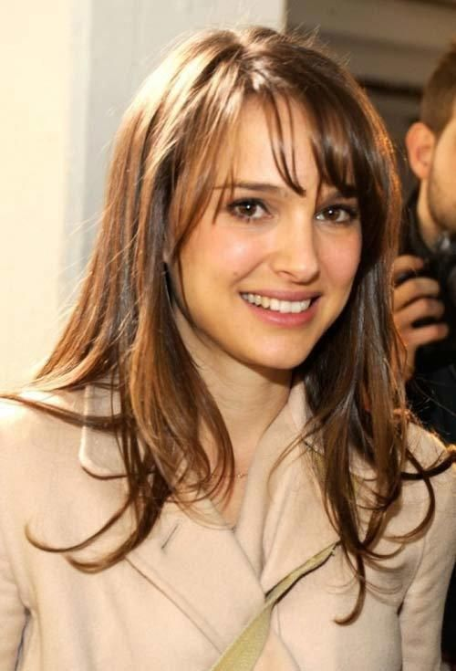 Natalie Portman. Thin fringe, tapered from lash length to jaw length, worn side swept. High forehead, oval face shape. 10 Stylish Hairstyles For Long