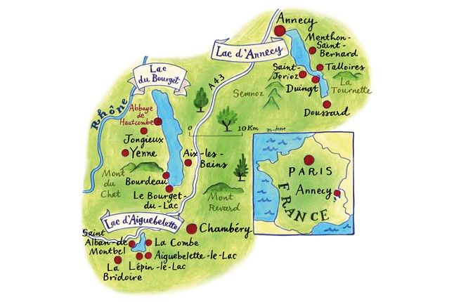 Mariko Jesse - Map of Area around Annecy, France for Conde Nast Traveller